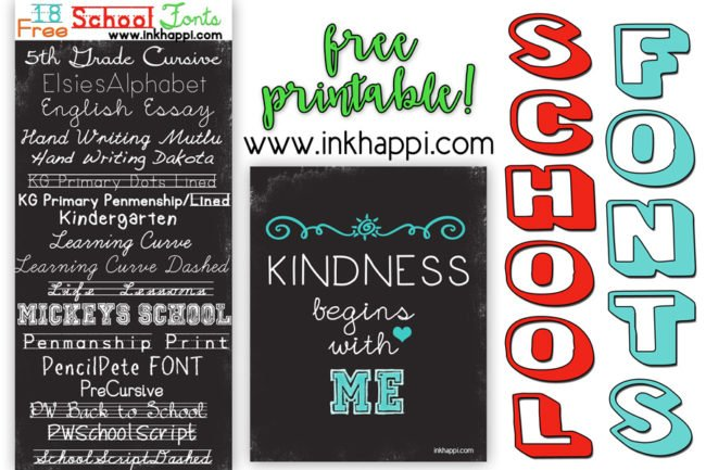 graphic about Fonts Printable titled Faculty Fonts Cost-free obtain back links and a Printable! - inkhappi