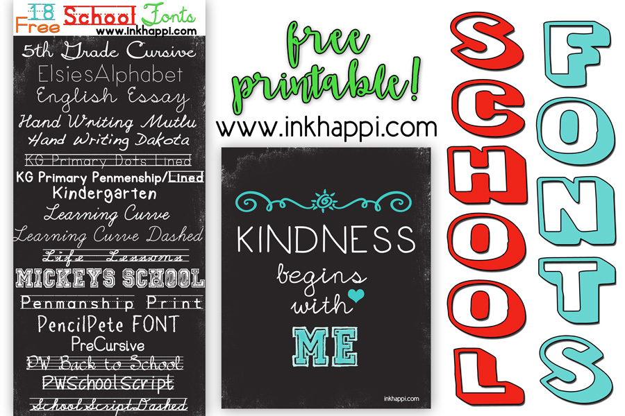 School Fonts    Free download links and a Printable! - inkhappi