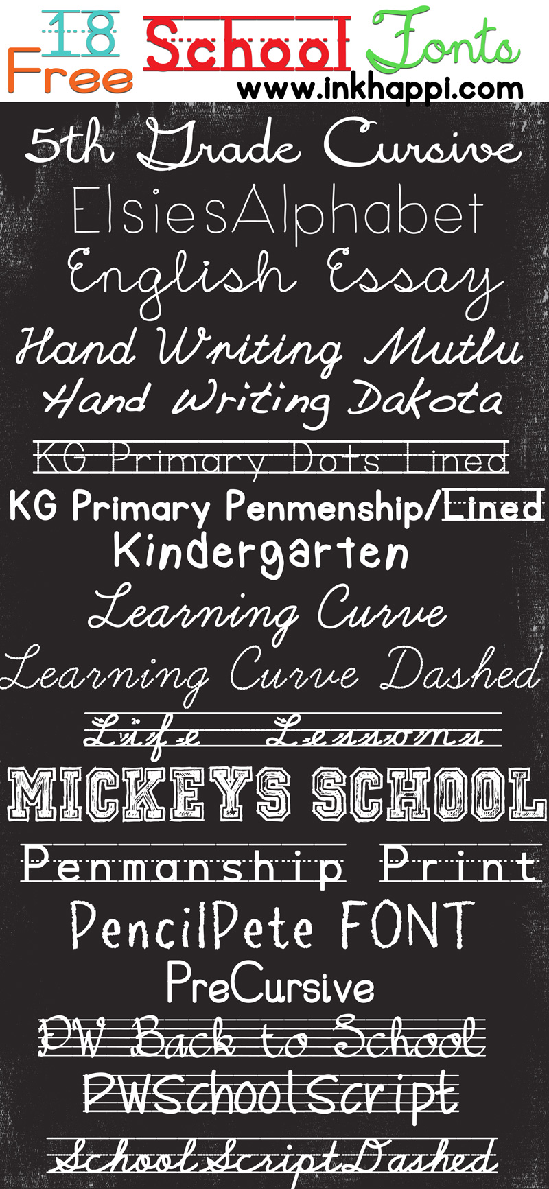 An Awesome Collection Of School Fonts And This Free Printable With A Great Message