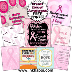 Breast Cancer Awareness: Early detection saves lives. Support someone you love. Free printables!