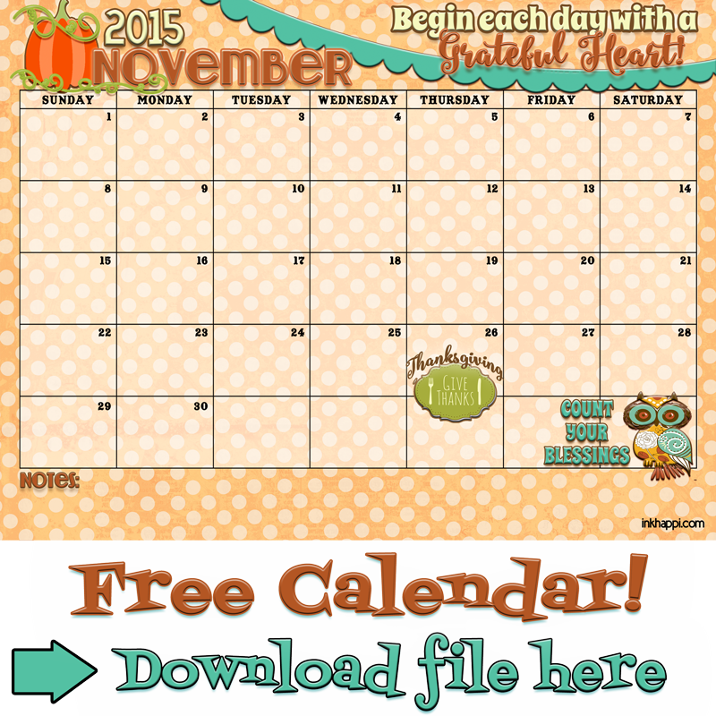 Happy With Printables Calendar November : November calendar is available at inkhappi