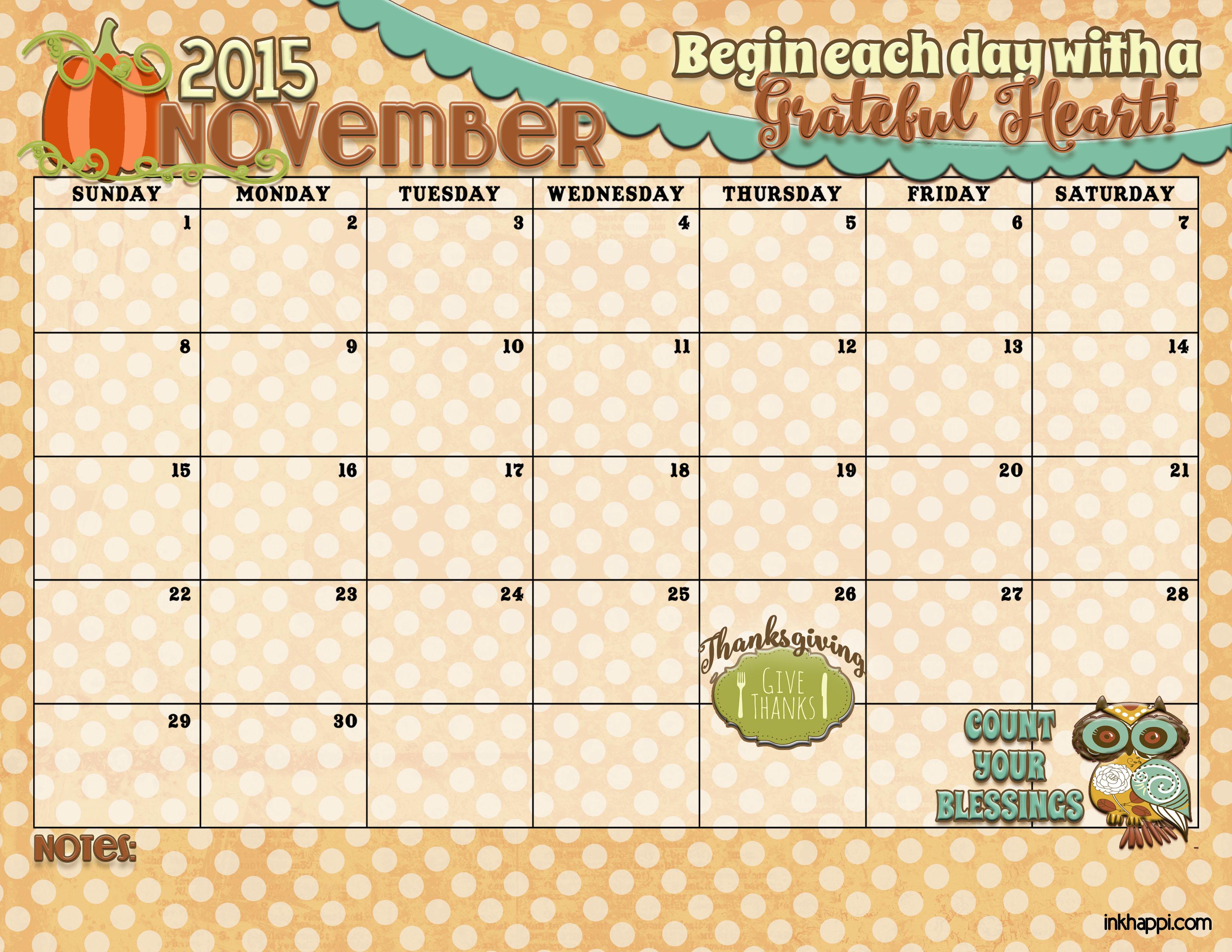 november 2015 calendar is available at inkhappi inkhappi