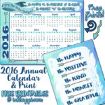 2016 Annual Calendar and some happy thoughts!