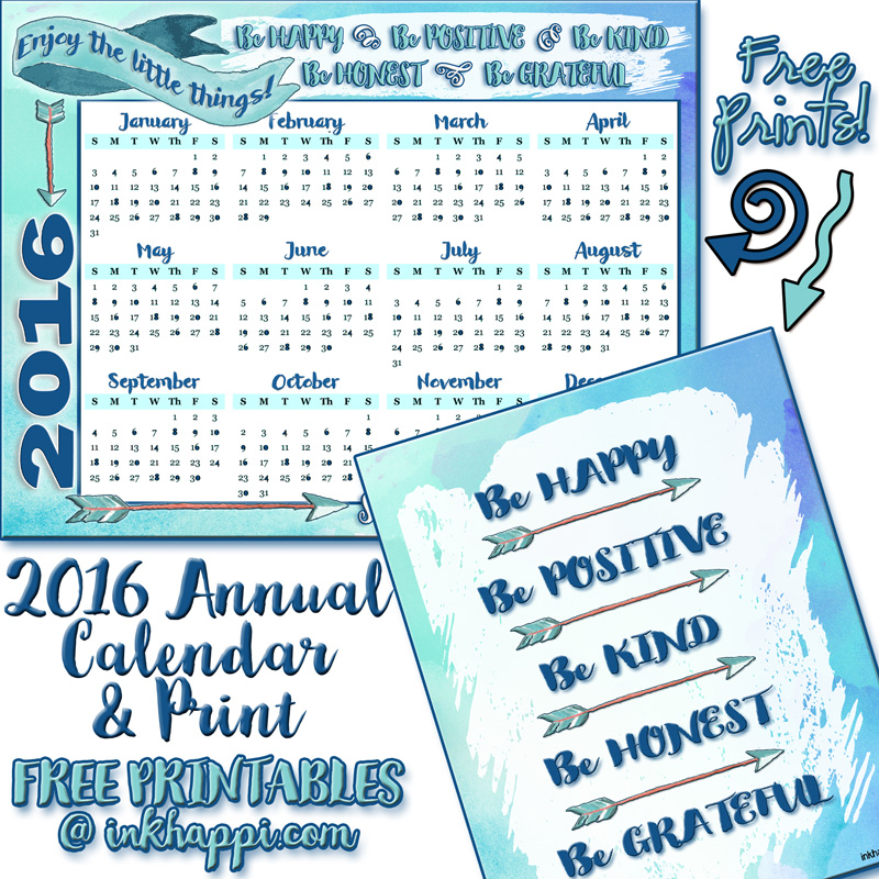 2016 Annual Calendar Free Printables and some inspiration to make it a ...