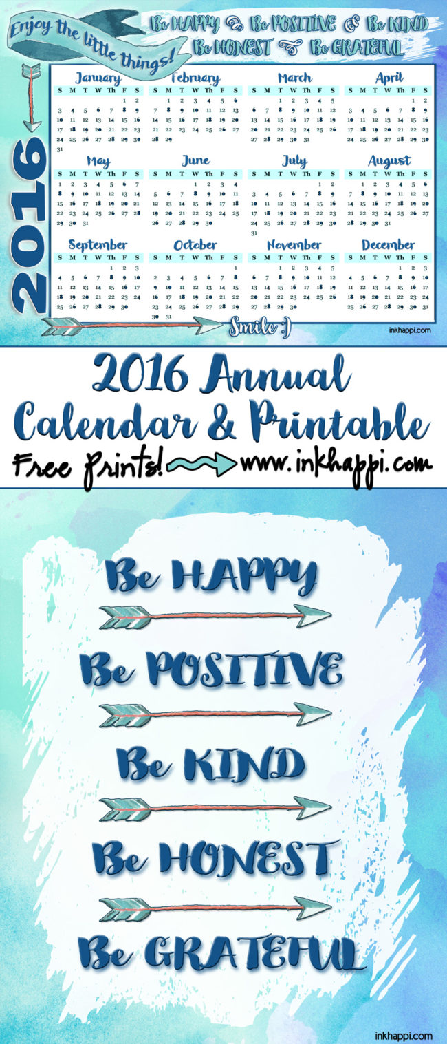 2016 Annual Calendar Free Printables and some inspiration to make it a great year!
