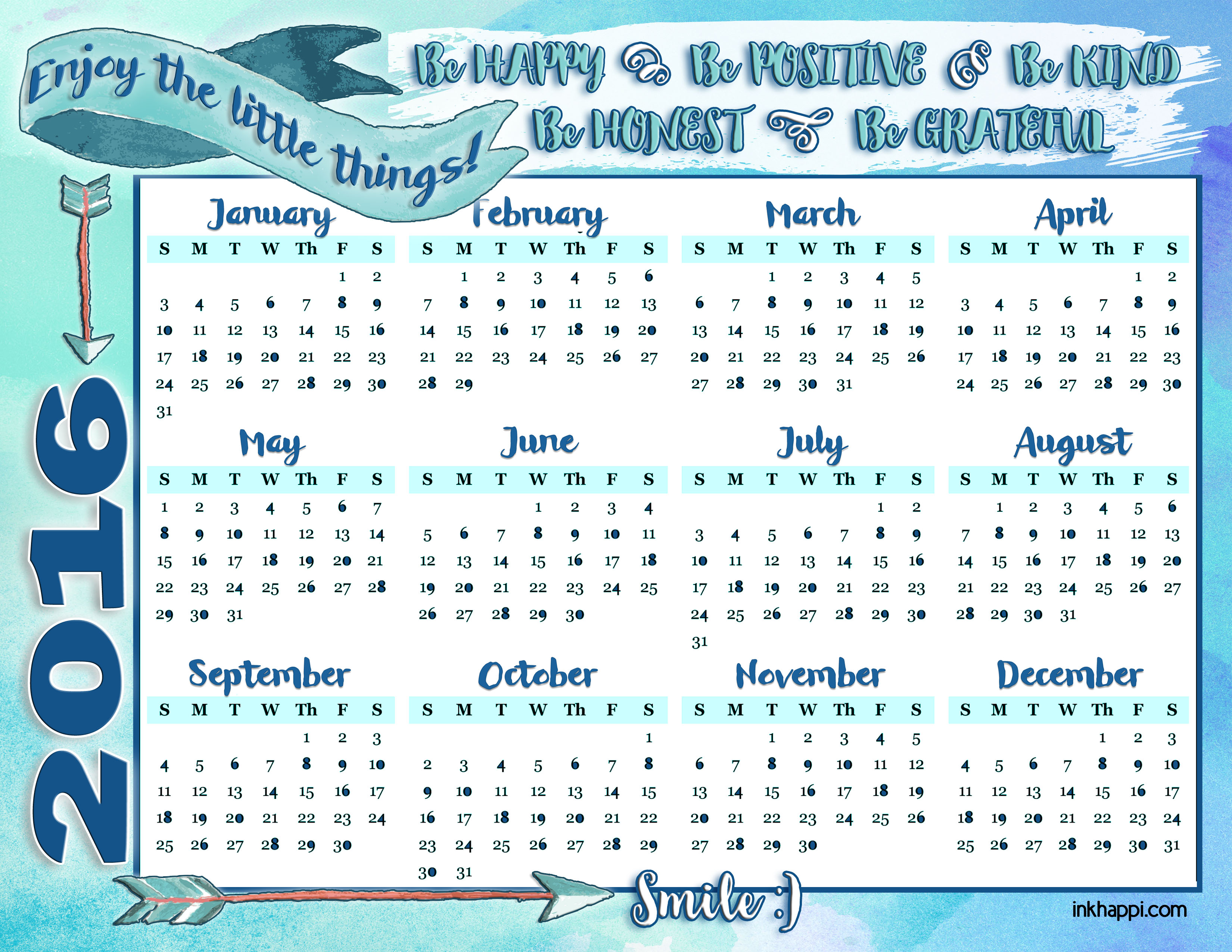 2016 Annual Calendar and some happy thoughts! - inkhappi