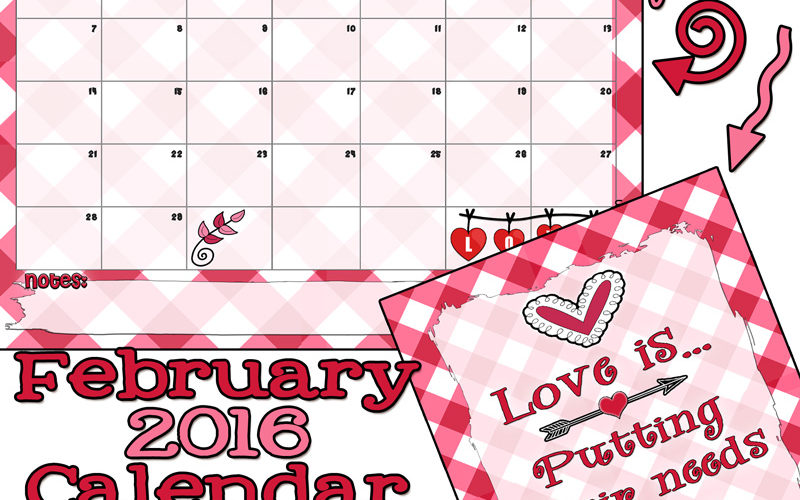 Super cute February 2016 calendar and Printable. LOVE it!