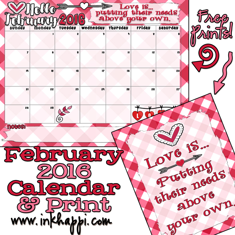 Super cute February 2016 calendar and Printable. LOVE it!