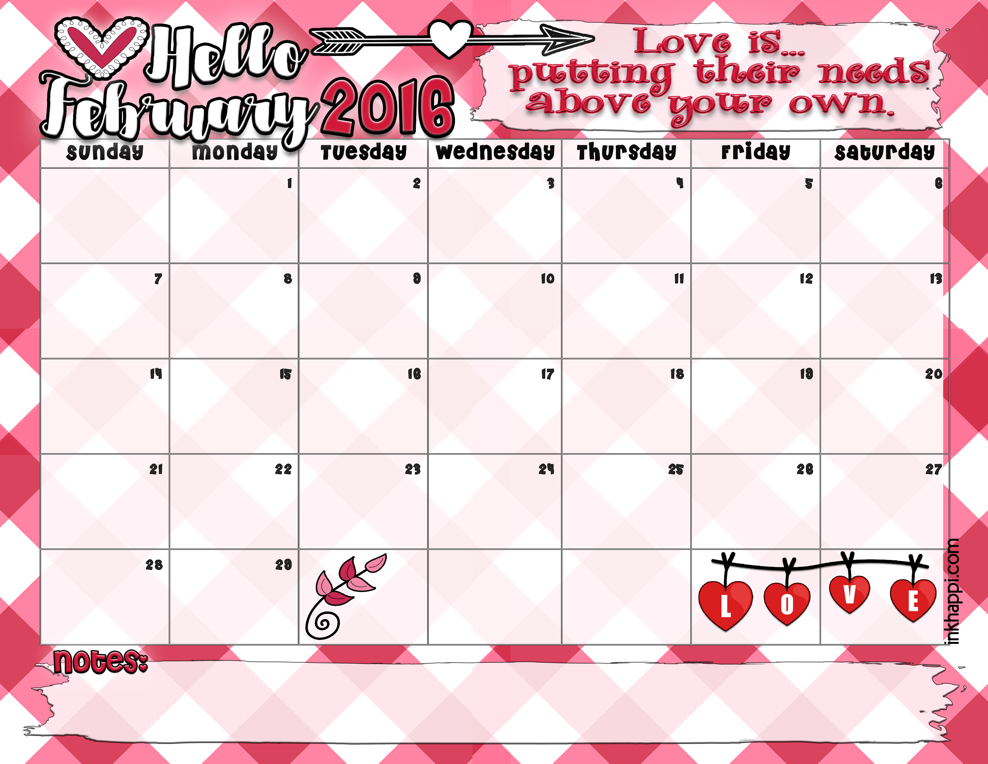 Calendar Feb : February calendar and love print inkhappi