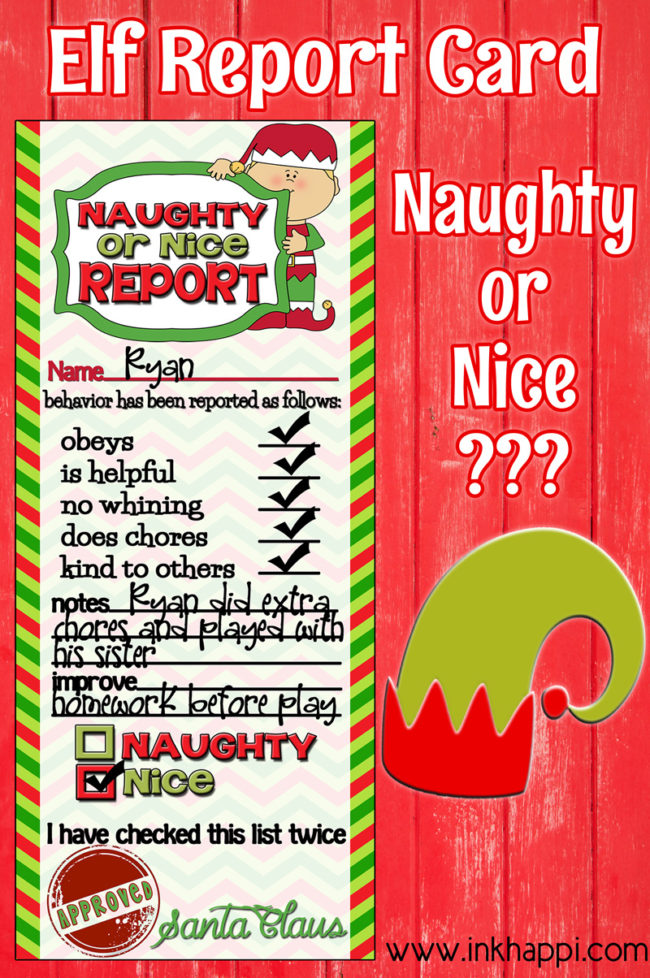 Naughty or Nice? Elf Report Cards. These are so fun and help keep the kids in line! Yes!