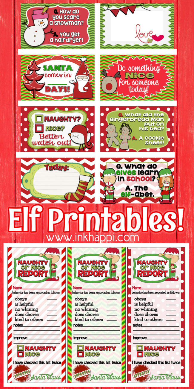Naughty or Nice? Elf Report Cards and printables. These are so fun and help keep the kids in line! Yes!