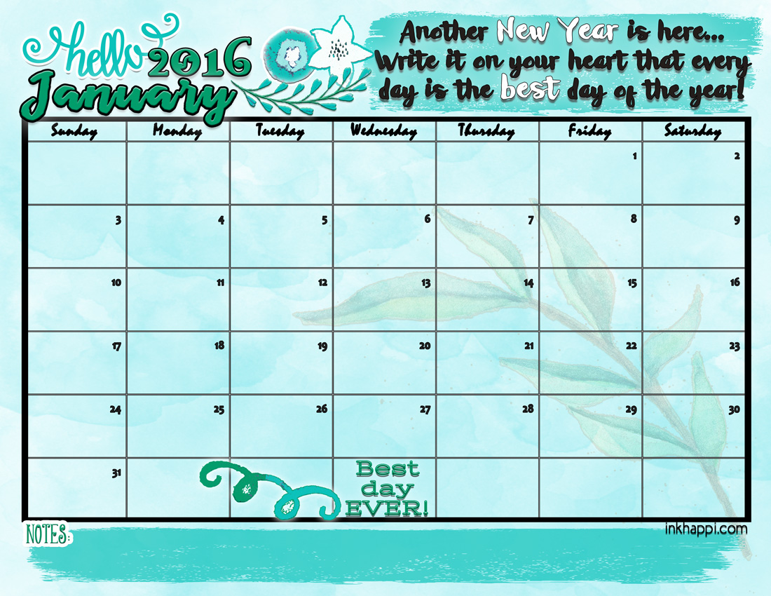 January 2016 Calendar... Hello New Year! - inkhappi