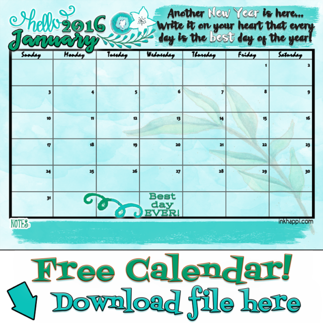 Free Printables! January 2016 calendar and cute print from inkhappi.com.
