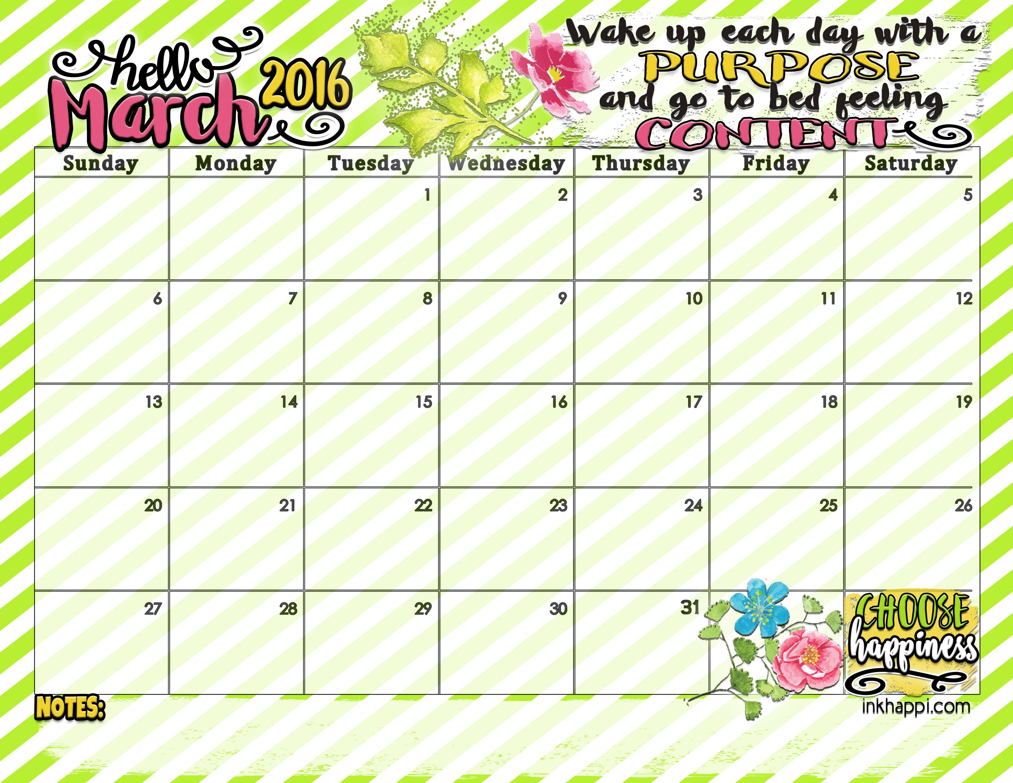 Cute March 2016 Calendar | Calendar Template 2016