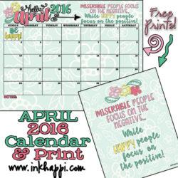 April 2016 Calendar (free printables)