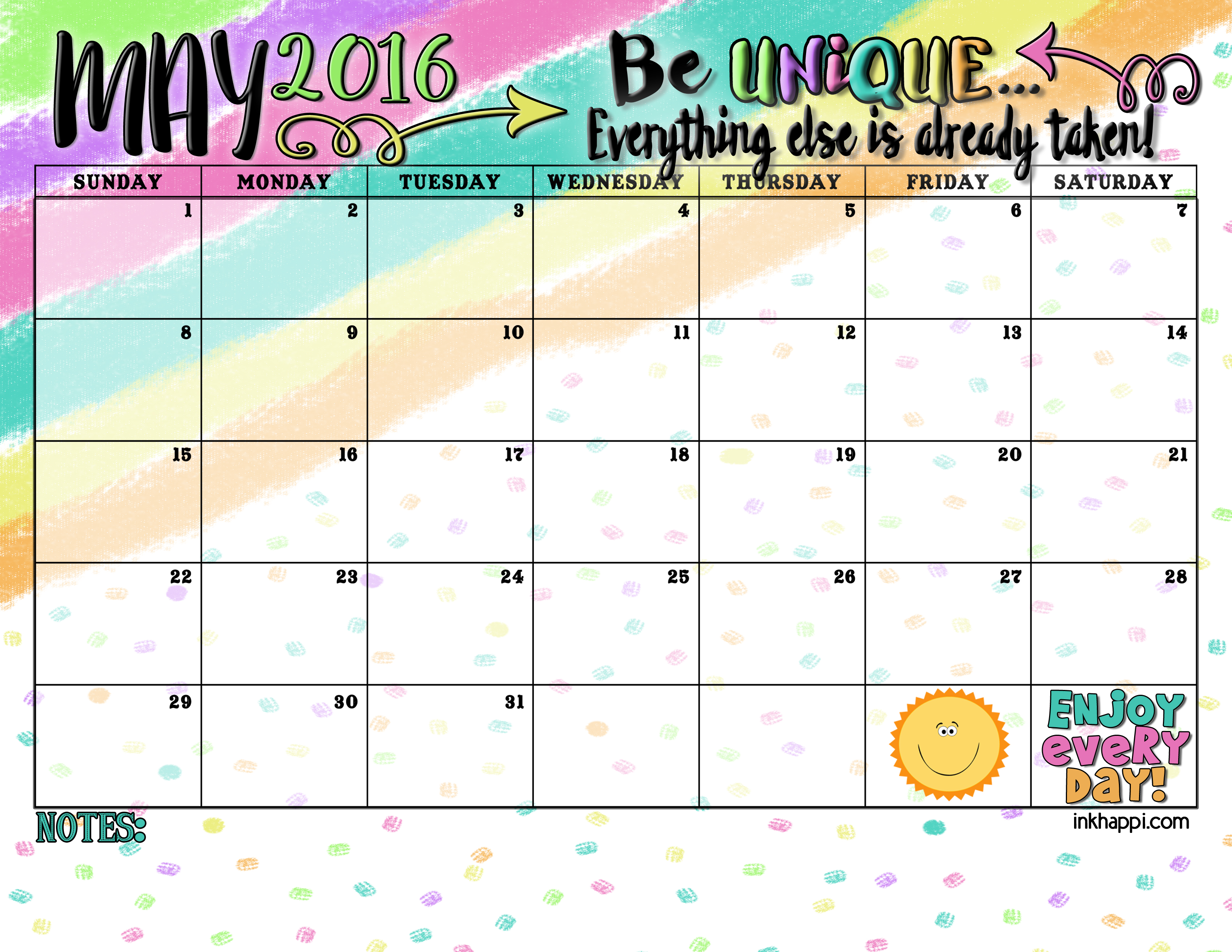 Calendar May : May calendar and print inkhappi