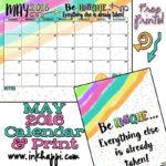 May 2016 Calendar and Print