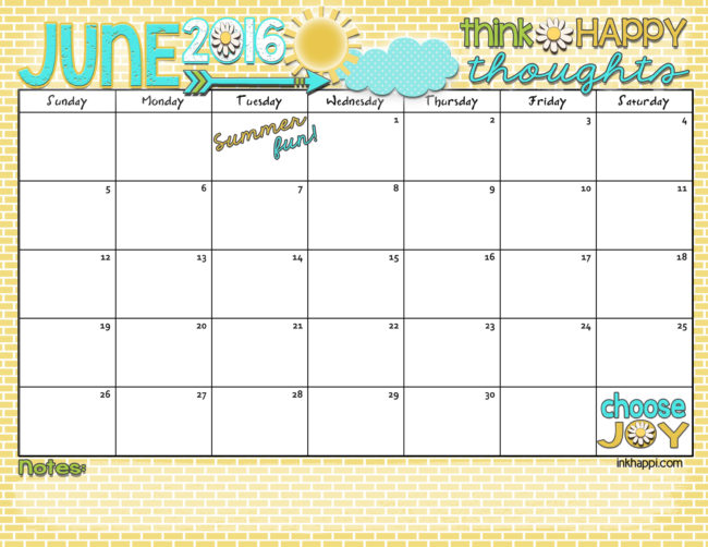 Ready for some summer fun! June 2016 Calendar and print from inkhappi.