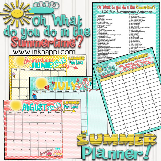 Gather the family and plan out your summer activities with these free printable summer planning calendars, ideas and a chart.
