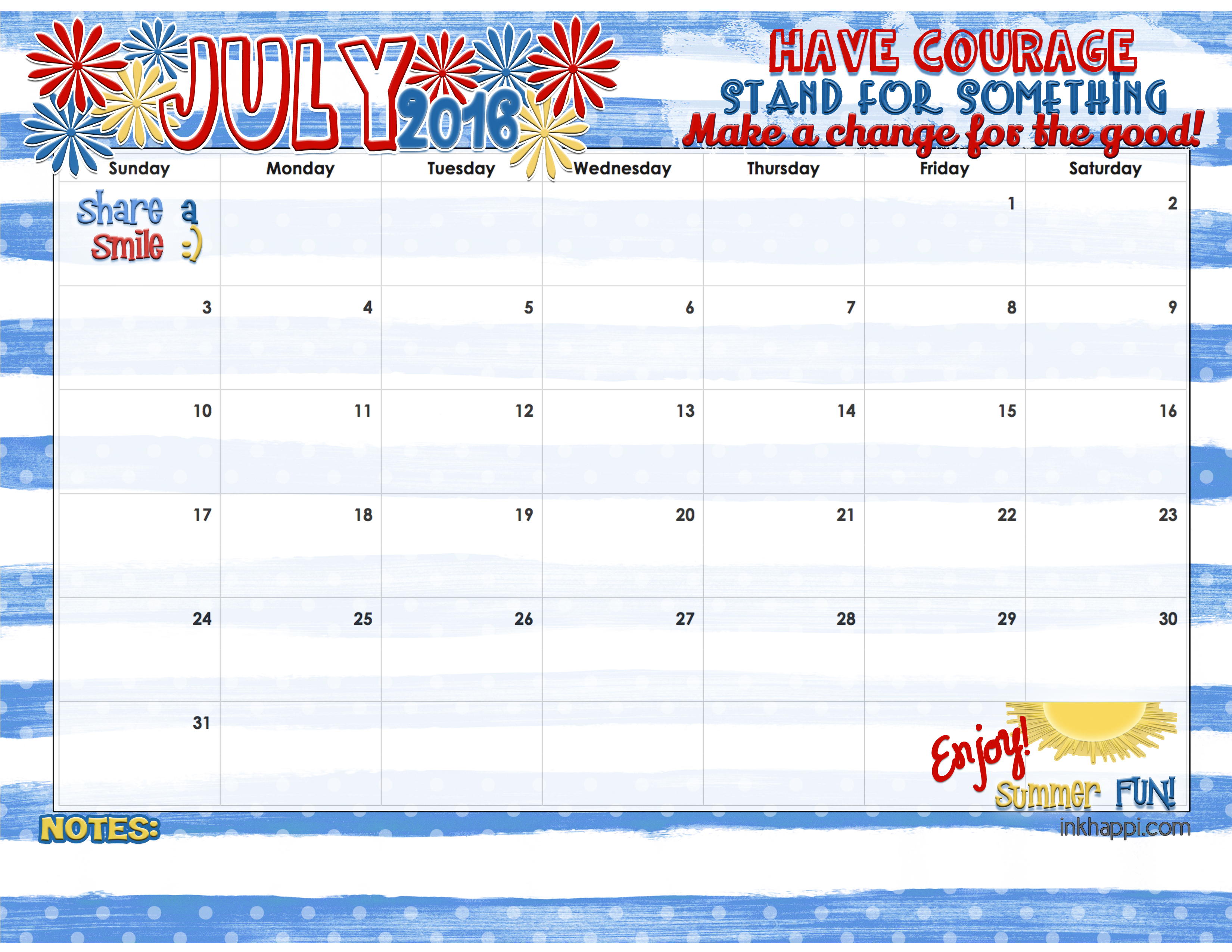 Calendar July : July calendar and print inkhappi