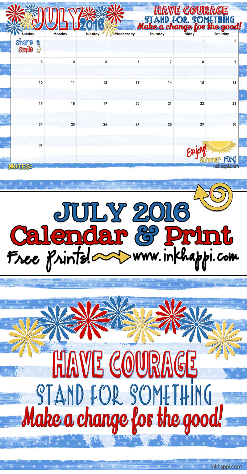 Cute July 2016 Calendar