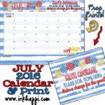 July 2016 Calendar and Print