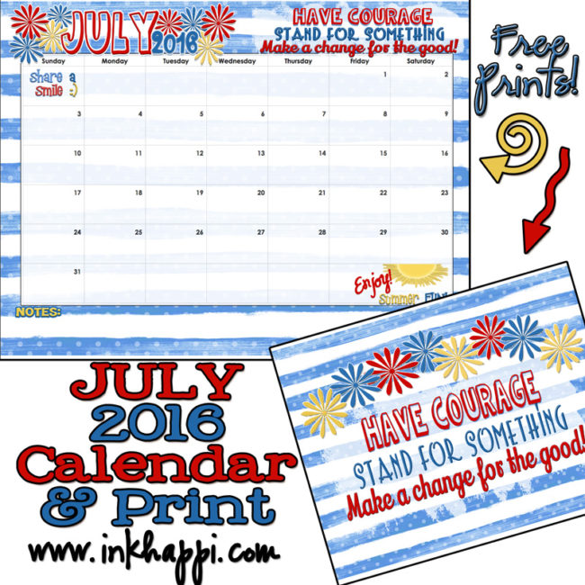 Pick up this cute free printable July 2016 Calendar and print at inkhappi!