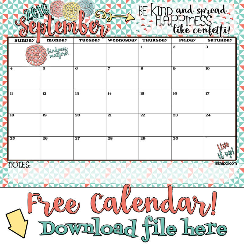 ... ! Free Printable September 2016 calendar and print from inkhappi