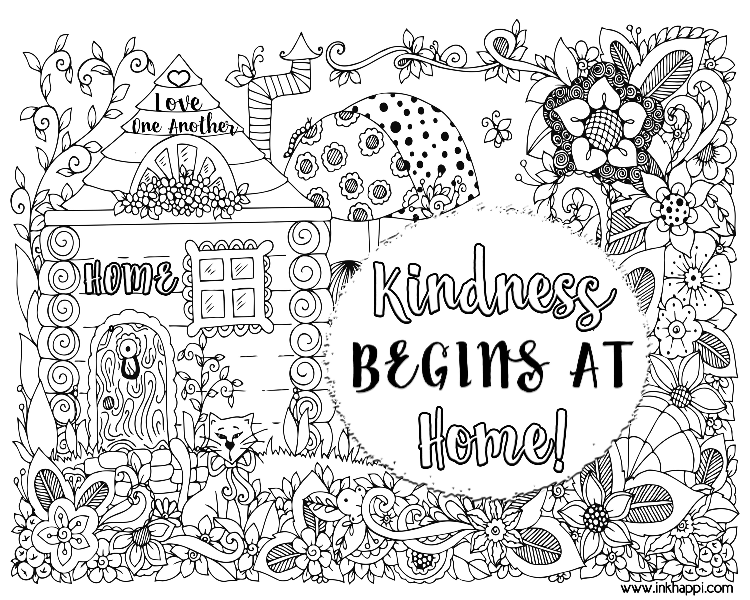 kindness begins at home a coloring page and a message inkhappi