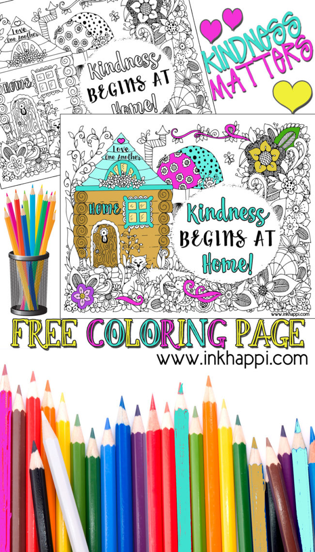 Kindness Begins at Home. A great message and a free coloring page!