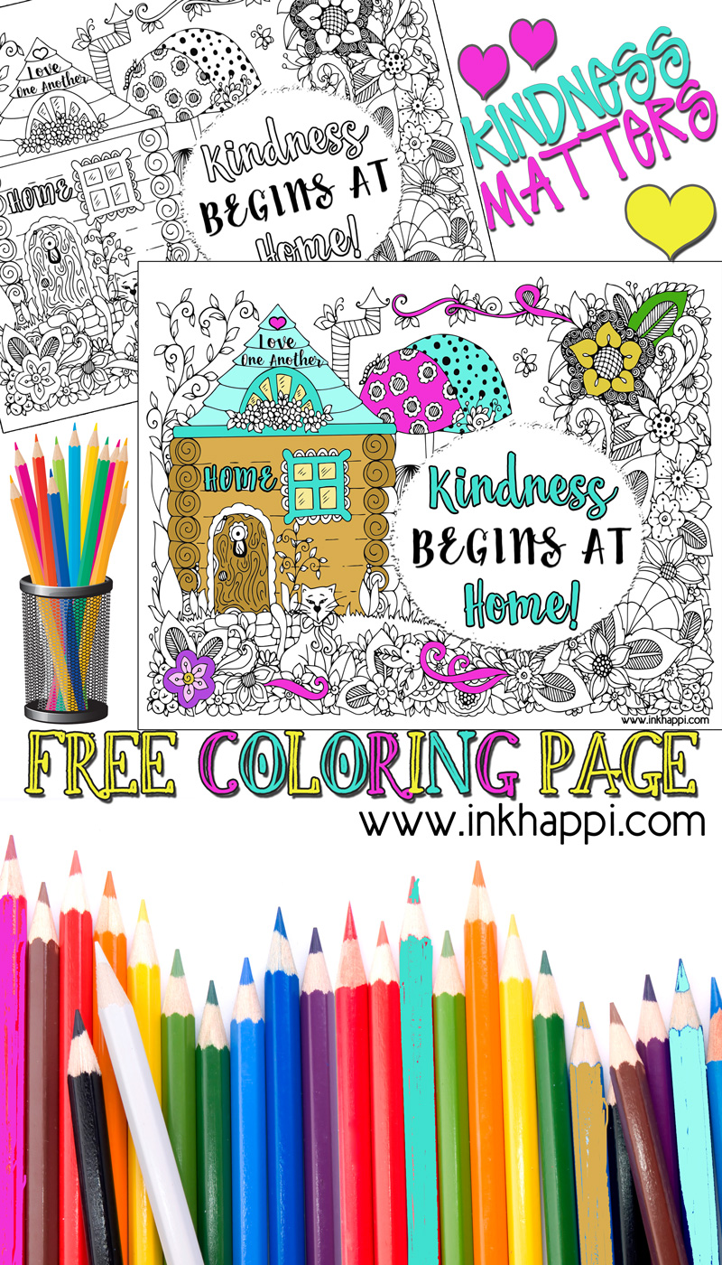 Free Coloring Pages Showing Kindness. Kindness Begins at Home  A great message and a free coloring page Coloring Page Message inkhappi