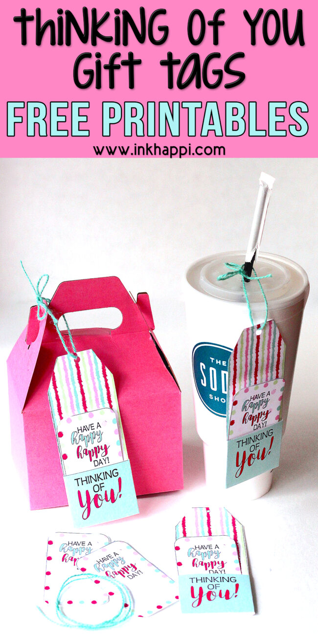 Thinking of you free printable gift tags. Drop a drink or treat by to someone you care for! #freeprintable #thinkingofyou #gifttags
