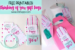Be prepared to help make someones day happy with these free printable thinking of you gift tags! #gifttags #printabletags #giftideas