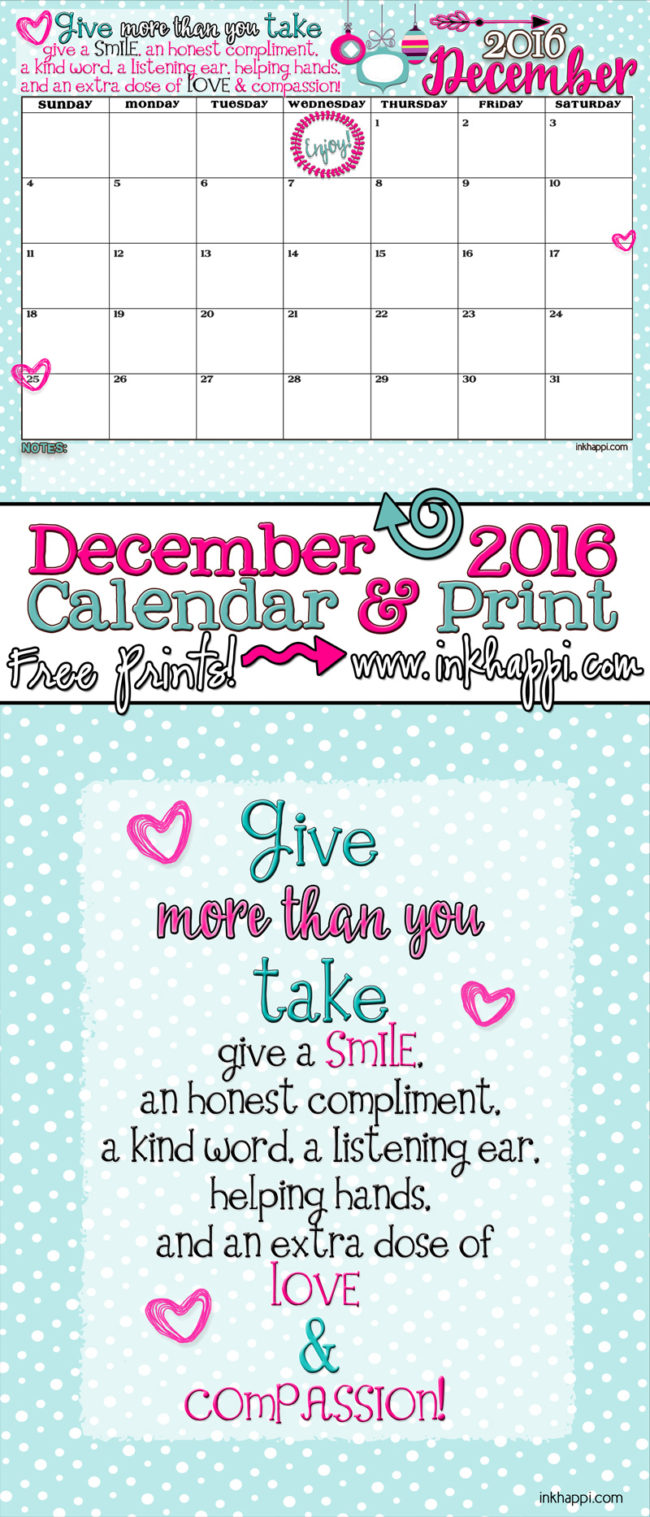 Awesome December 2016 Calendar ftom inkhappi. Free printables!