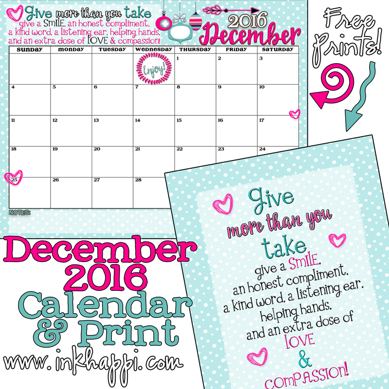 December 2016 Calendar… Yep! The last month of 2016