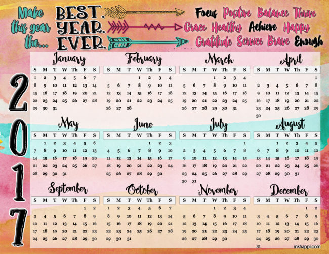 Start the new year off with this 2017 Annual Calendar from inkhappi!