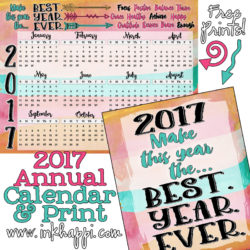 2017 Annual Calendar… Make it the best year ever!