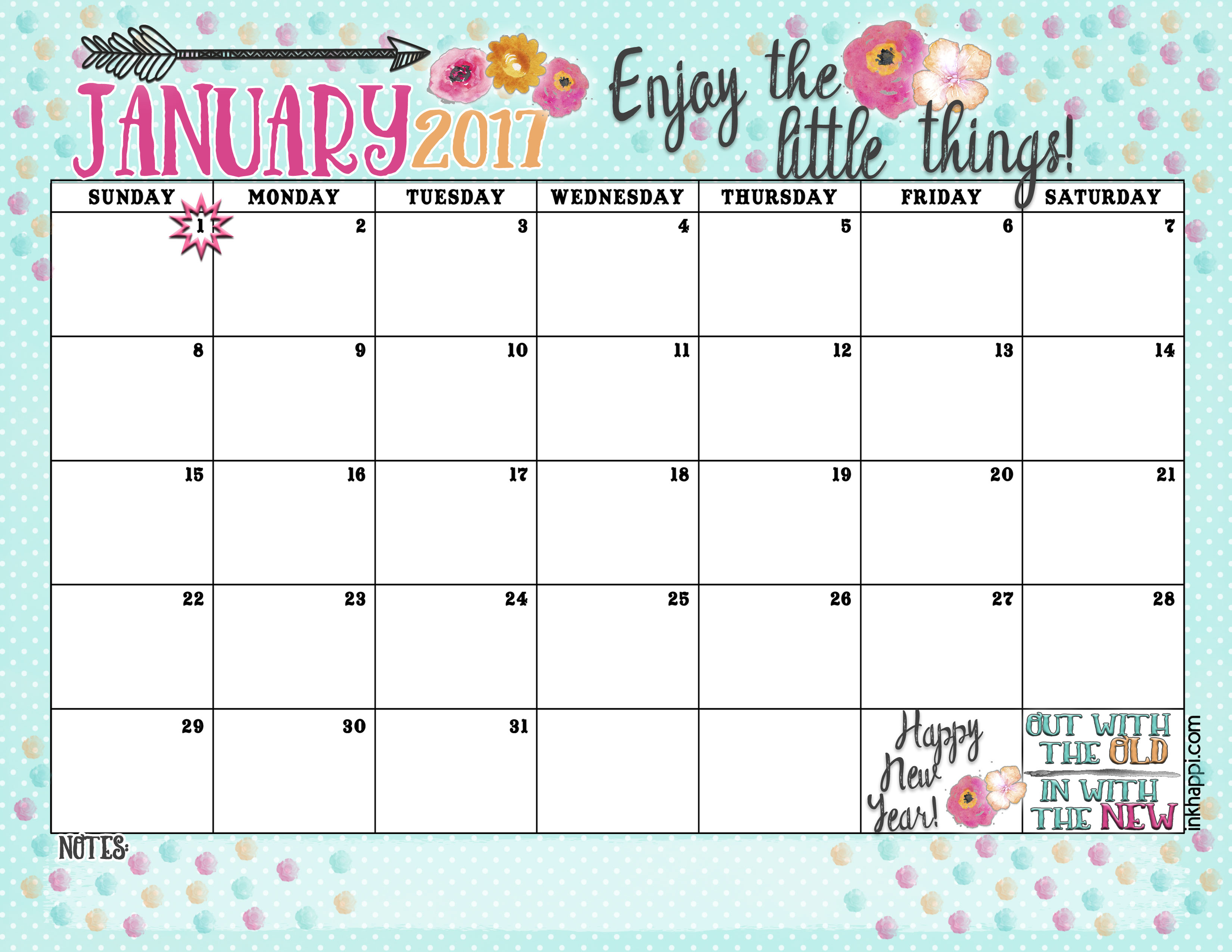January 2017 Calendar and Print... Enjoy the Little Things ...