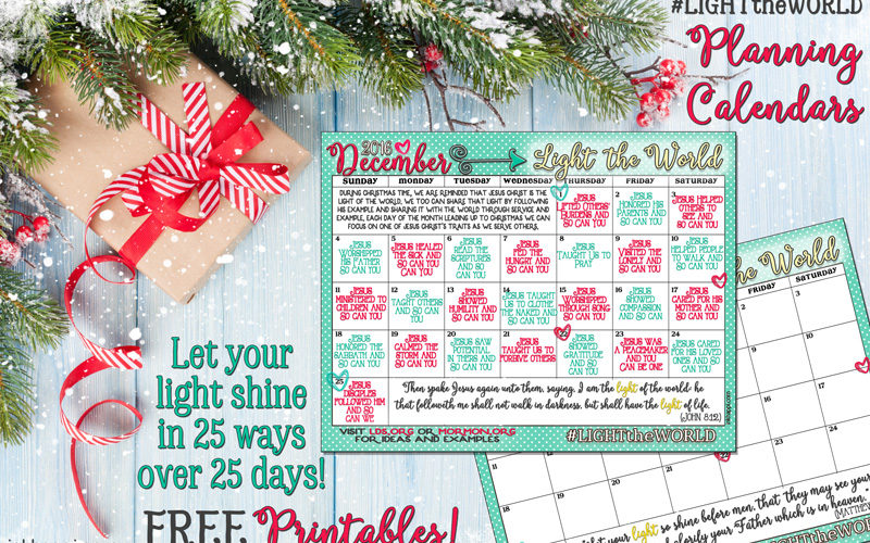 Light the World... Let your light shine in 25 ways over 25 days. Give the gift of service and compassion. Tons of free printables! #LIGHTtheWORLD