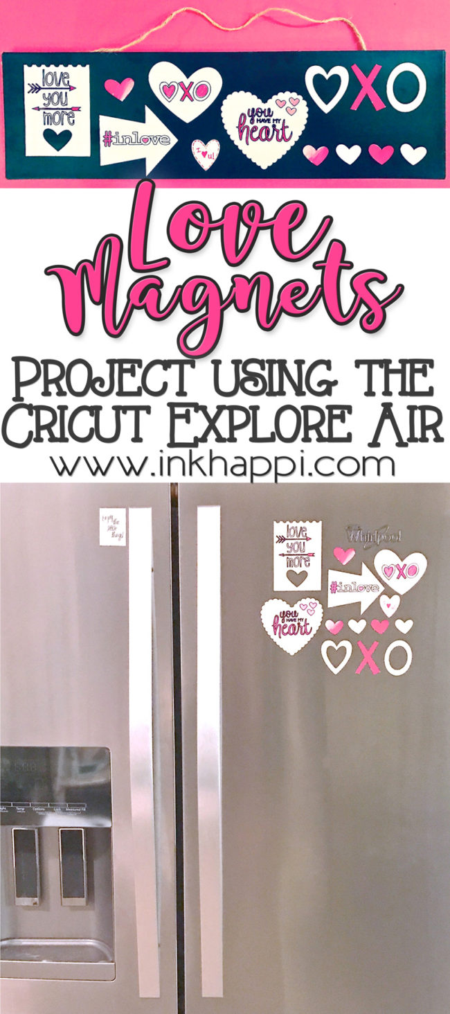 Valentine Magnets. A fun and easy Cricut Explore Valentine project! #cricut #magnets #diy #love #hearts #valentines