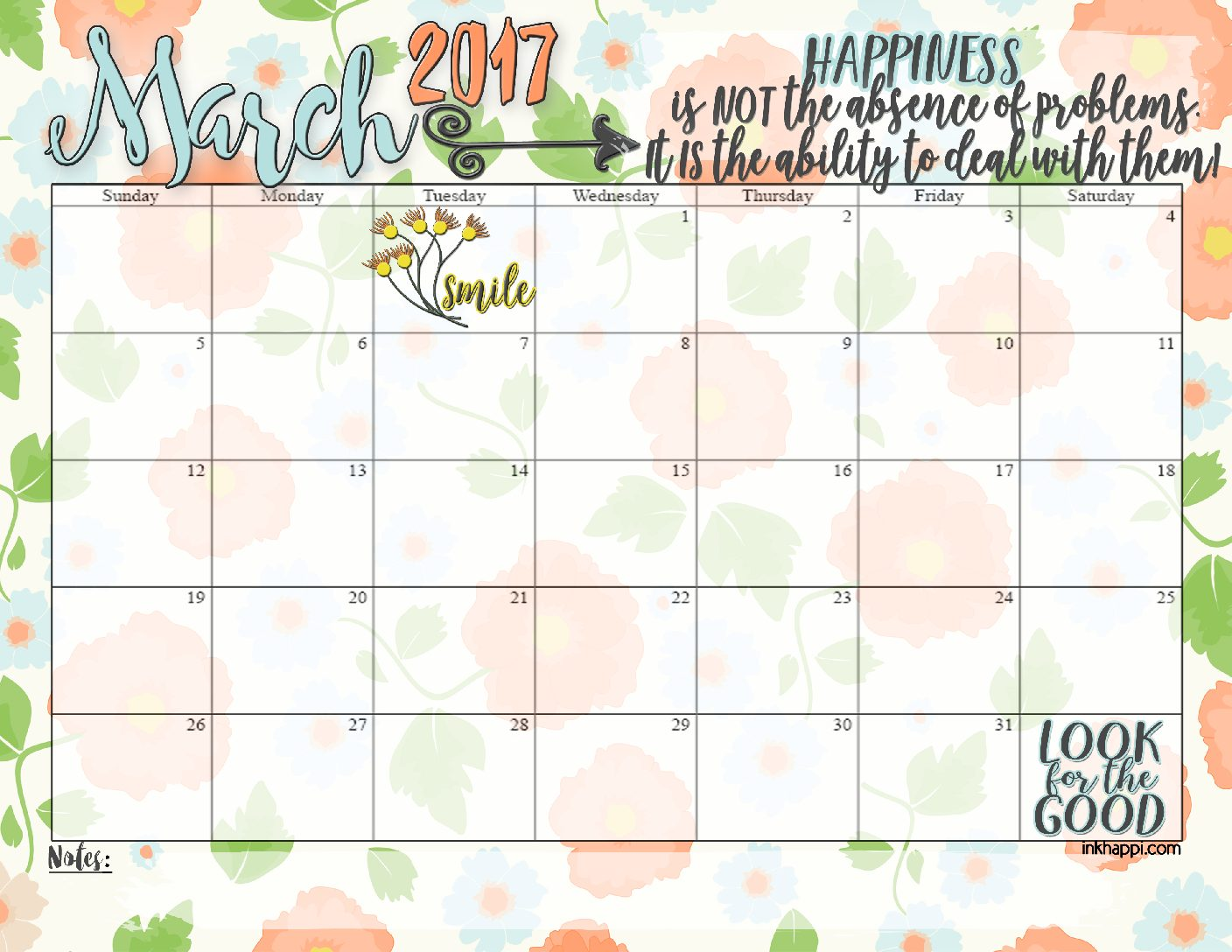 MARCH 2017 calendar and print from inkhappi.