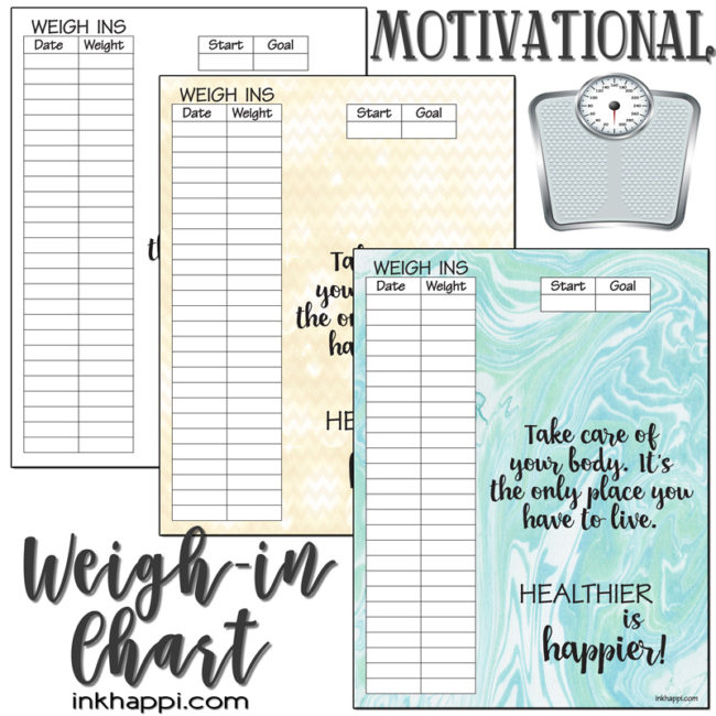 Motivational Weight Tracking Chart to help you stay healthy!