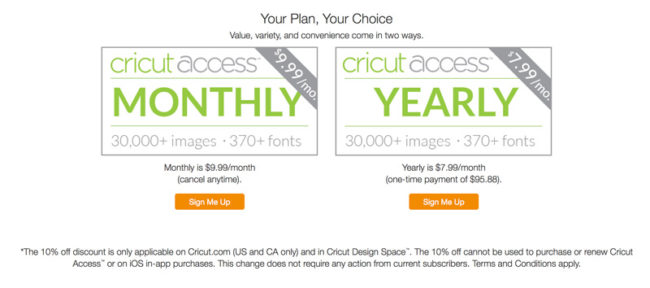 cricut design space access 10% off (affiliate link)