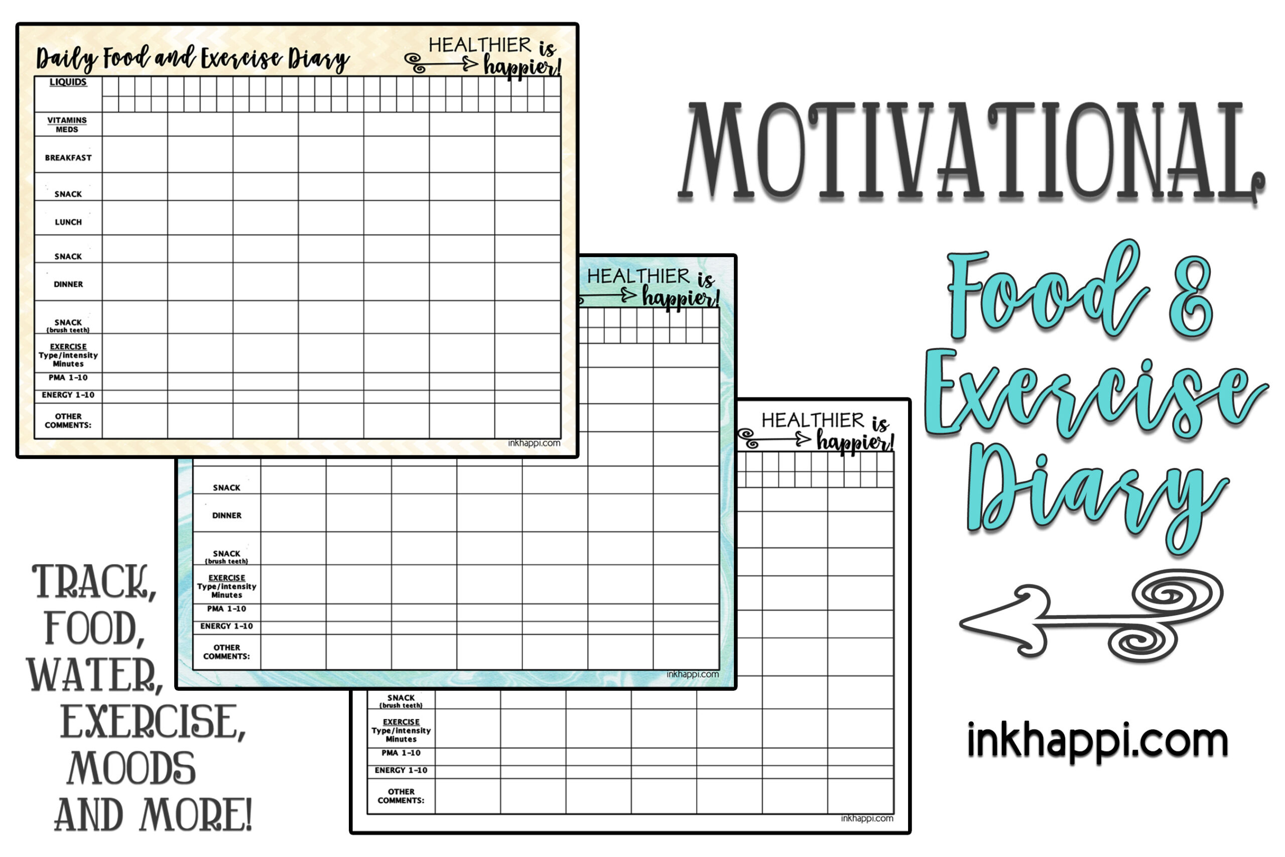 motivational food and exercise diary  free printable