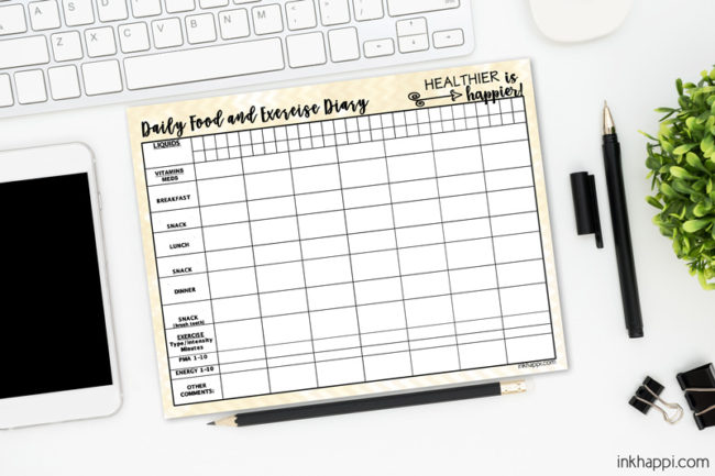 Free printable! I use this food and exercise diary to help maintain a healthy lifestyle. Its really thorough in tracking what's important.