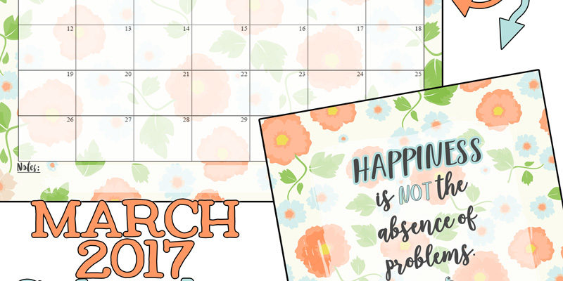 Free printables… March 2017 Calendar and coordinating print!