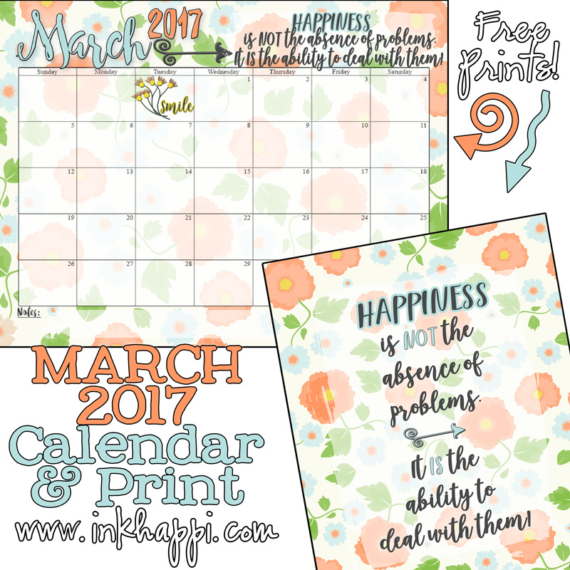 Free Printables  March  Calendar And Coordinating Print