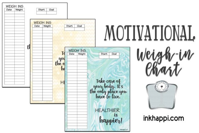 Motivational Weight Tracking Chart to help you stay healthy! #freeprintable #weightchart