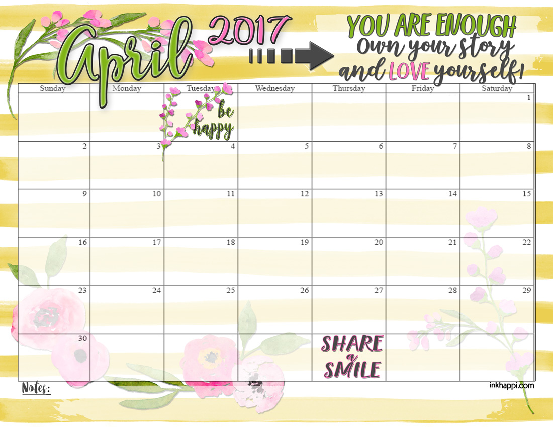 APRIL 2017 calendar and print from inkhappi.