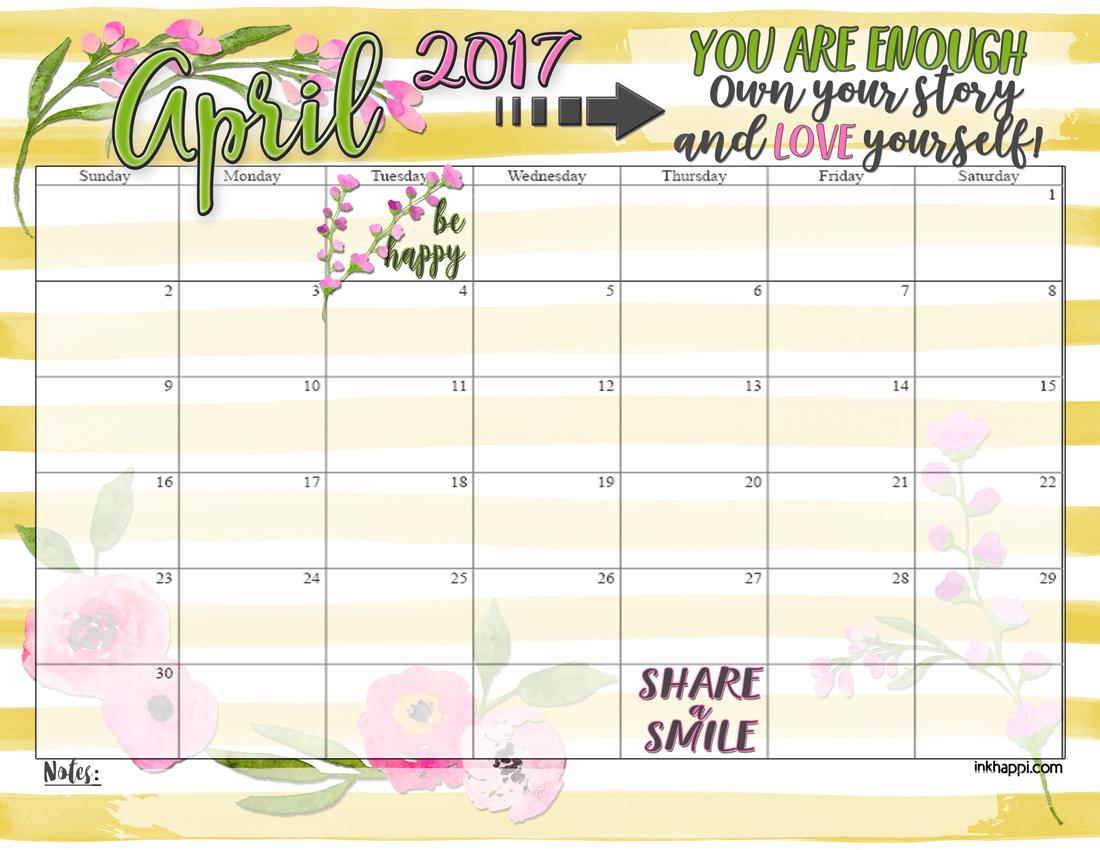 Calendar Design April : April calendar and you are enough free printable